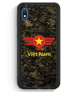 Samsung Galaxy A10 Silikon Hülle - Vietnam Camouflage mit Schriftzug