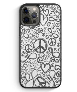 iPhone 12 Pro Max Silikon Hülle - Love Peace Infinity Muster Grau