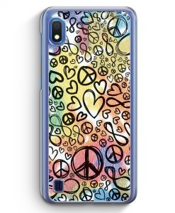 Samsung Galaxy A10 Hülle - Love Peace Infinity Muster Bunt