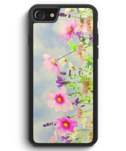 iPhone SE 2020 Silikon Hülle - Blumen Landschaft Rosa