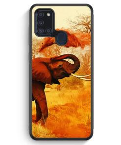Samsung Galaxy A21s Silikon Hülle - Elefant Seitlich