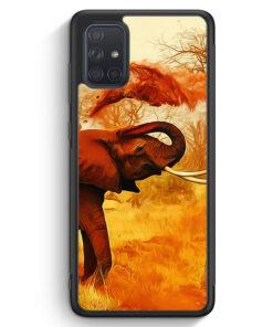 Samsung Galaxy A71 Silikon Hülle - Elefant Seitlich