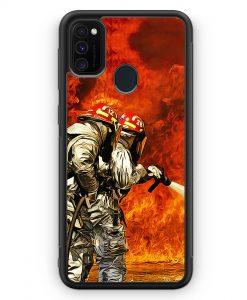 Samsung Galaxy M30s Silikon Hülle - Cartoon Feuerwehr