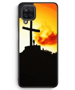 Samsung Galaxy A12 Silikon Hülle - Großes Kreuz Berg Landschaft