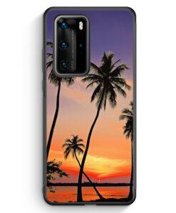 Huawei P40 Pro Silikon Hülle - Sonnenuntergang Palmen Landschaft