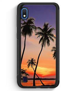 Samsung Galaxy A10 Silikon Hülle - Sonnenuntergang Palmen Landschaft