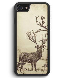 iPhone SE 2020 Silikon Hülle - Vintage Hirsch Geweih