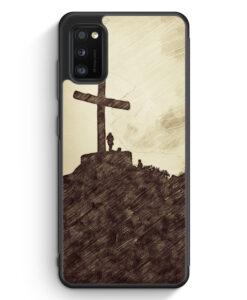 Samsung Galaxy A31 Silikon Hülle - Vintage Großes Kreuz Landschaft