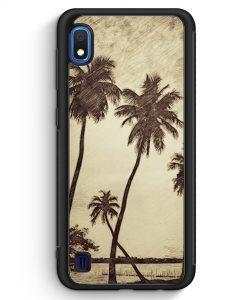 Samsung Galaxy A10 Silikon Hülle - Vintage Palmen Landschaft