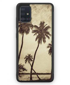 Samsung Galaxy A51 Silikon Hülle - Vintage Palmen Landschaft