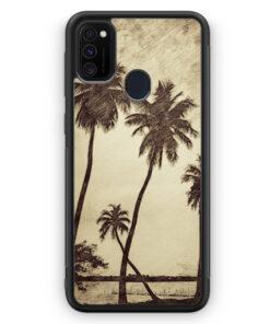 Samsung Galaxy M21 Silikon Hülle - Vintage Palmen Landschaft