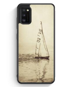 Samsung Galaxy A41 Silikon Hülle - Vintage Segelboot See Segeln Schiff