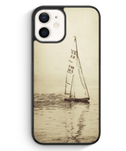 iPhone 12 Silikon Hülle - Vintage Segelboot See Segeln Schiff