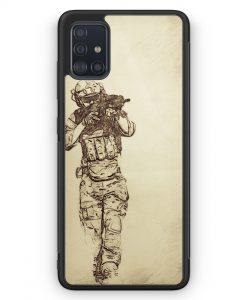 Samsung Galaxy A51 Silikon Hülle - Vintage Soldat Militär Front