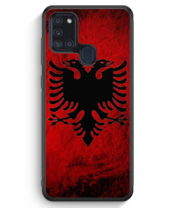 Samsung Galaxy A21s Silikon Hülle - Albanien Splash Flagge
