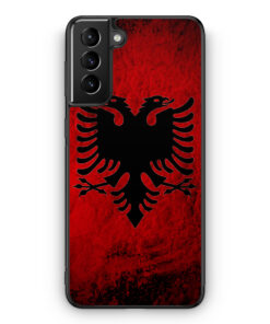Samsung Galaxy S21 Silikon Hülle - Albanien Splash Flagge