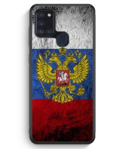 Samsung Galaxy A21s Silikon Hülle - Russland Splash Flagge Russia