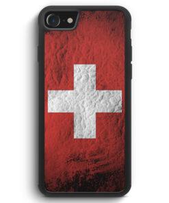 iPhone SE 2020 Silikon Hülle - Schweiz Splash Flagge