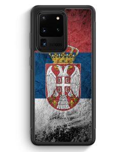 Samsung Galaxy S20 Ultra Silikon Hülle - Serbien Splash Flagge Serbia Srbija