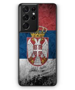 Samsung Galaxy S21 Ultra Silikon Hülle - Serbien Splash Flagge Serbia Srbija