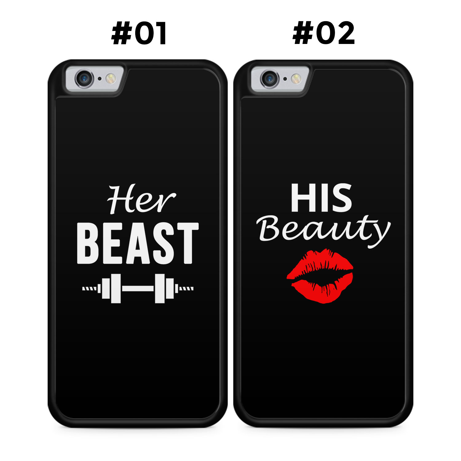 Partner Handyhüllen: Her Beast & His Beauty | Black Edition - Silikon