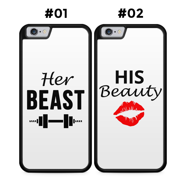 Partner Handyhüllen: Her Beast & His Beauty   White Edition - Silikon