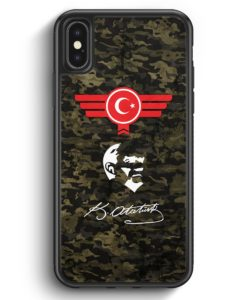iPhone X & iPhone XS Silikon Hülle - Atatürk Türkiye Türkei Camouflage