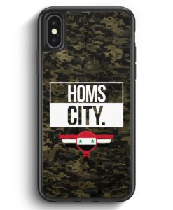 iPhone X & iPhone XS Silikon Hülle - Homs City Camouflage Syrien